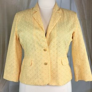 Sag Harbor Yellow Eyelet Blazer